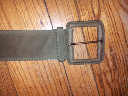 Carlos Falchi Olive Suede Belt With Rectangle Buckle Image 4