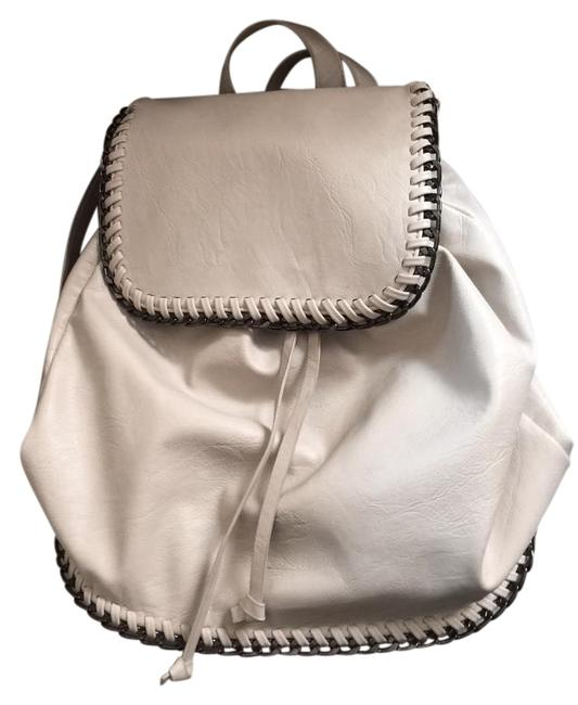 Item - With Chain Trim Ivory and Graphite Faux Leather Backpack