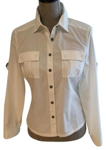 Calvin Klein Blouses Button Down Shirt White