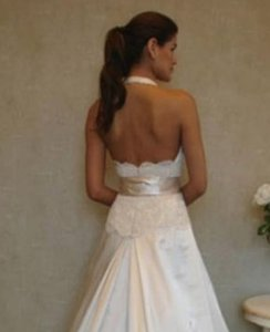 Jim Hjelm Sz 8/10 Lace Satin 8803 Halter Plunging Neckline Low Back Wedding Dress
