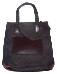 Gucci Mint Vintage Perfect Size Canvas/Leather Front Pocket Tote in brown large G logo print canvas and brown leather