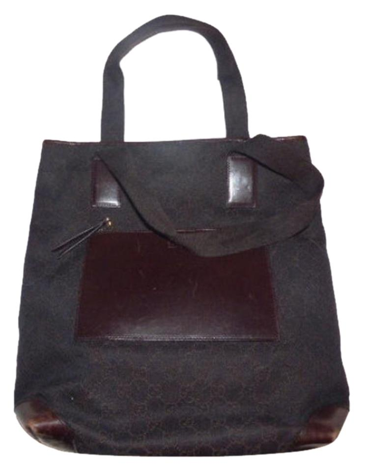 f8e0578e86a Gucci Mint Vintage Perfect Size Canvas Leather Front Pocket Tote in brown  large G logo ...