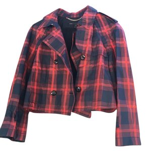 Marc by Marc Jacobs Mar Plaid Cropped Blue and Red Jacket