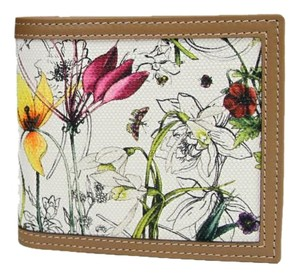 Gucci New Gucci Men's Floral Canvas/Leather Bifold Wallet 237359 9086