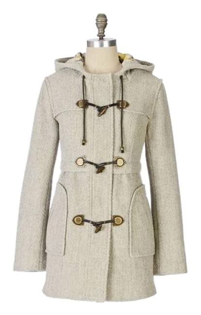 Item - Light Heather Gray Duffle Crackling Air Wool Hooded Coat Size 10 (M)