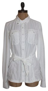 Anthropologie Lucy Sporty Button Down Shirt WHITE