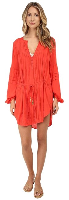 Item - Coral Red Paris Tunic Cover-up/Sarong Size 12 (L)