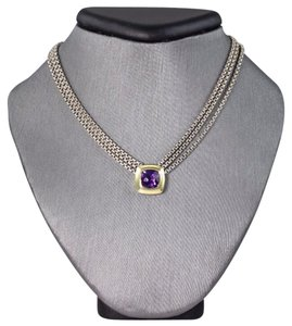 David Yurman Sterling Silver Amethyst Pendant Necklace