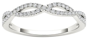 Elizabeth Jewelry 10Kt White Gold Diamond Criss Cross Ring