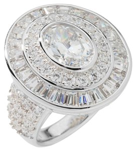 Jean Dousset Jean Dousset 5.74ct Absolute Simulated Diamond Multicut 3-Row Oval Ring - Size 7