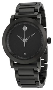 Movado Black PVD Stainless Steel Designer Casual Sort Style MENS Watch