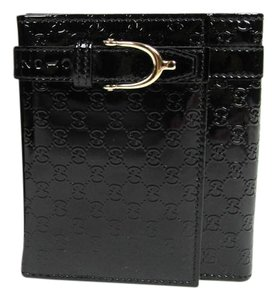 Gucci New Gucci Black Guccissima Patent Leather French Flap Wallet 309755 1000