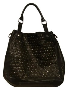 Kenneth Cole Studded Leather Tote in Black
