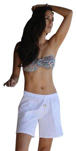 Lirome Embroidered Summer Beach Resort Vacation Mini/Short Shorts White