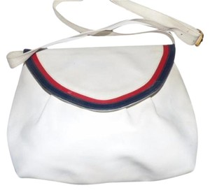 Salvatore Ferragamo Mint Vintage Dressy Or Casual Two-way Style Shape Satchel in white leather with red & blue leather accents