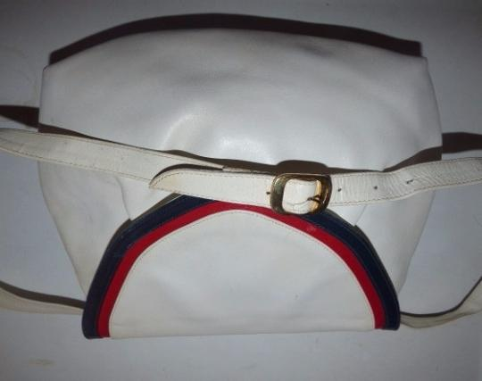 Salvatore Ferragamo Mint Vintage Dressy Or Casual Two-way Style Satchel/Clutch/C.b. Ruched/Pleated Shape Satchel in white leather with red & blue leather accents