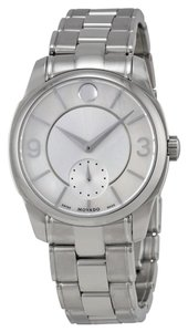 Movado Silver tone dial Stainless Steel Designer Ladies Casual Dress Watch