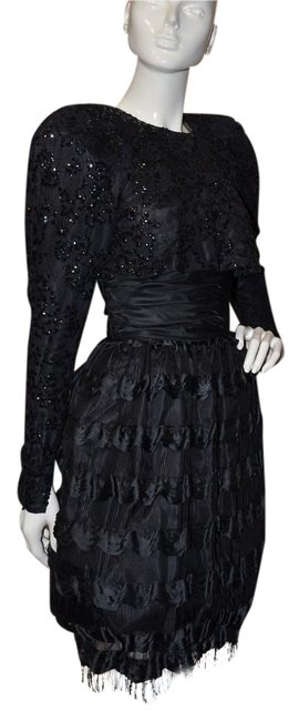 Preload https://img-static.tradesy.com/item/17814700/black-vintage-silk-knee-length-cocktail-dress-size-4-s-0-1-650-650.jpg