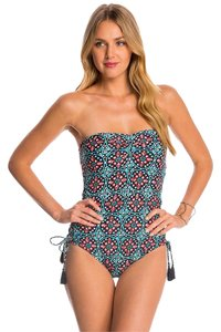 Michael Kors Michael Kors Swimwear Nui Side Inset One Piece Swimsuit Turquoise Size 8