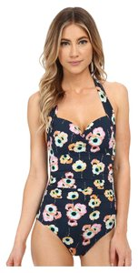 SeaFolly Seafolly Cabana Rose Soft Cup Halter Maillot Indigo Swimsuit AU 10/ US 6