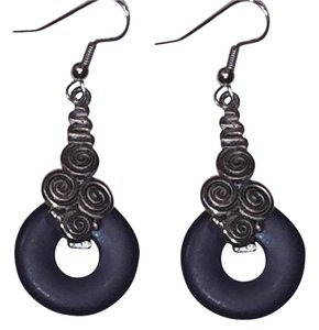 Express Black Disc and Silvertone Boho-Chic/Contemporary Hanging Earrings