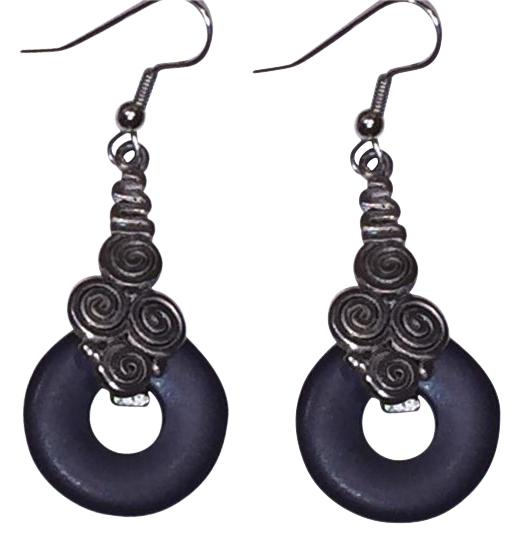 Preload https://img-static.tradesy.com/item/17814901/express-black-and-silvertone-disc-boho-chiccontemporary-hanging-earrings-0-2-540-540.jpg