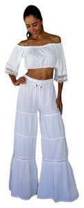 Lirome Boho Nautical Summer Resort Flare Pants White