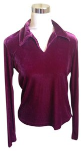 A|X Armani Exchange Velour Velours V-neck Velvet Top Magenta
