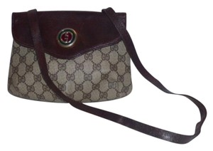 Gucci Gold Hardware Two Hard Logo Print Enamel Logo Snap Petite Yet Roomy Hobo Bag