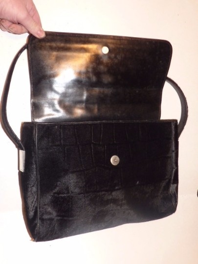 Gucci Chrome Hardware Rare Vintage Style Modern And Chic Envelope Top Embossed Pony Hair Hobo Bag