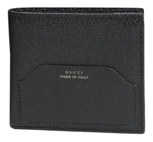 Gucci New Gucci Black Trademark Detail Leather Bifold Wallet 322101 1000