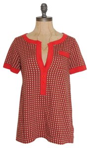 Marc by Marc Jacobs Plaid Stretchy Casual T Shirt RED