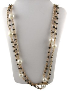 """Honora Honora Cultured White Pearl 9.0mm and Black Spinel 36"""" Bronze Necklace"""