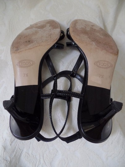 Tod's Sandals Patent Leather Strappy From Italy Heel Logo Design Black Pumps