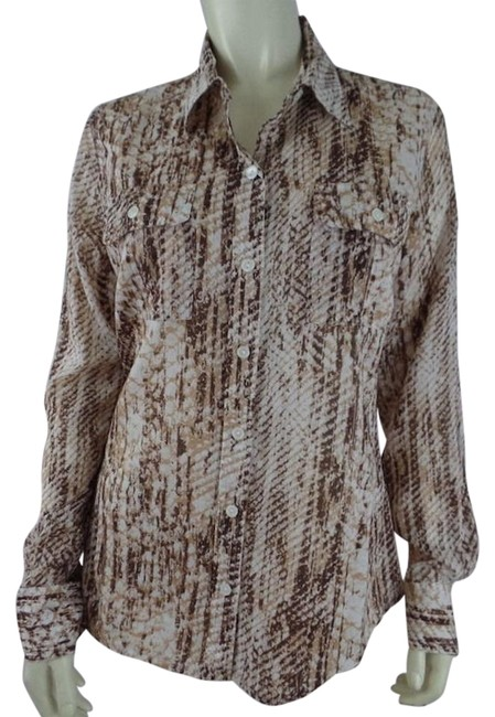 Preload https://img-static.tradesy.com/item/17816662/lucky-blouse-cotton-snake-print-button-front-long-roll-up-sleeves-chic-0-1-650-650.jpg