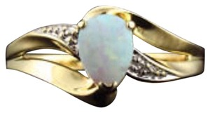 Other 10k yellow gold, 0.50ctw Australian opal, diamond accent ring