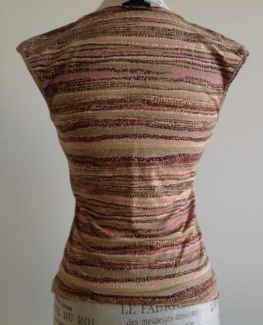 The Limited Knit Stripes Wear To Work Top Light Brown