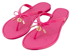 Tory Burch Flip Flops Pink T Logo Jelly Saucy Pink Sandals