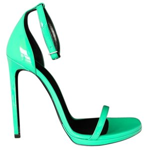 Saint Laurent Patent Patent Leather green Sandals