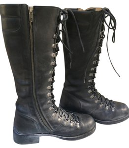 Frye Rogan Lace Up Combat Black Boots
