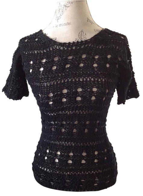 Preload https://img-static.tradesy.com/item/17817268/derek-lam-black-crochet-knit-short-sleeve-sweater-night-out-top-size-0-xs-0-1-650-650.jpg