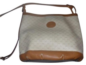 Gucci Bohemian Satchel in ivory coated canvas with camel small G print & leather