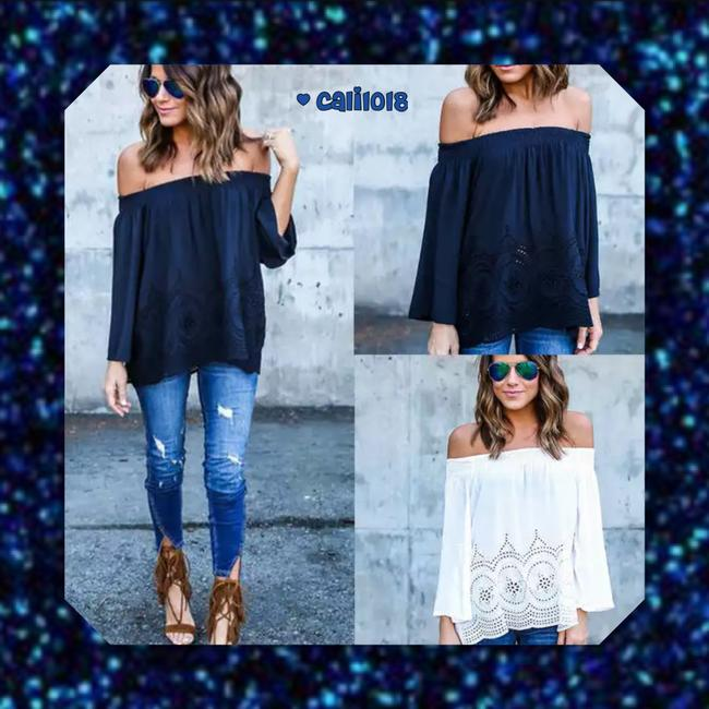 Other Bohemian Off Shoulder Crochet Lace Loose Tunic