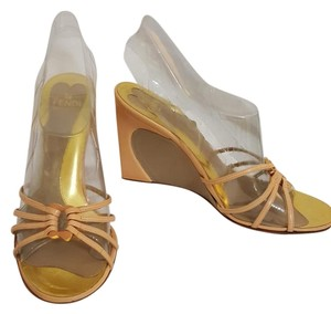 Fendi Wedge Strappy Gold nude Wedges
