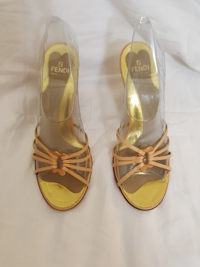 Fendi Strappy Gold nude Wedges