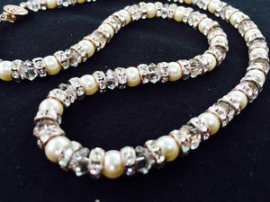 Hand Strung Pearl & Crystal Necklace