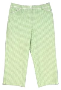 Talbots Gingham Check Plaid Stretch Crop Petite 2p Capri/Cropped Pants Green, White
