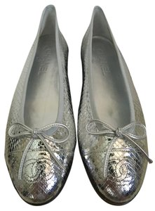 Chanel Python Bow Cap Toe Silver Flats