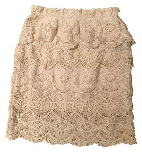 Urban Outfitters Staring At Stars Crochet Scalloped Mini Off Skirt White