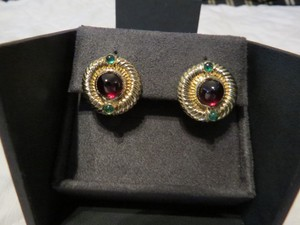 David Yurman Renaissance Collection 14k YG Cabochon Garnet and Emerald